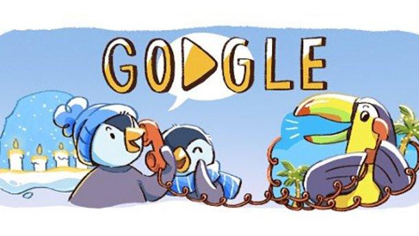 Google создал новогодний дудл о семье пингвинов