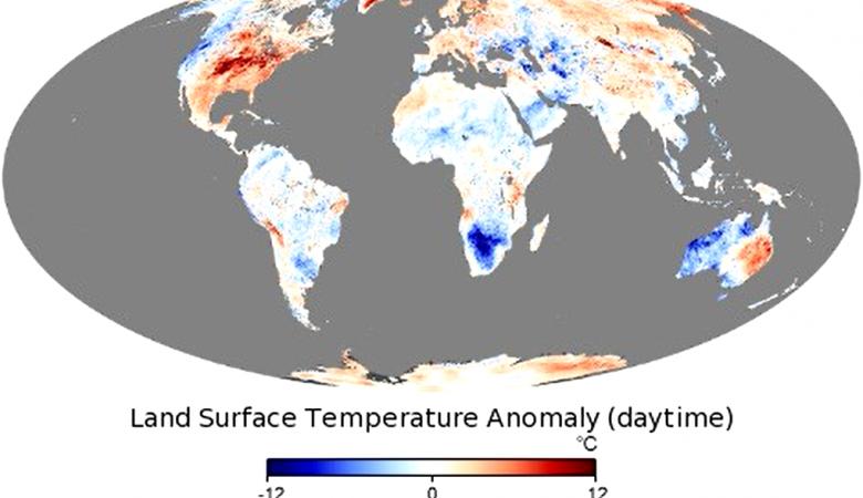 NASA показали мировую карту температурных аномалий