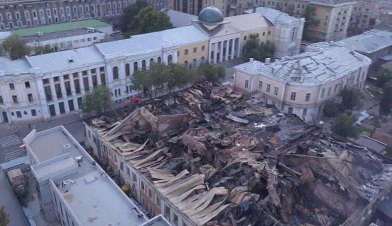 Как выглядит крыша академии после пожара (видео)