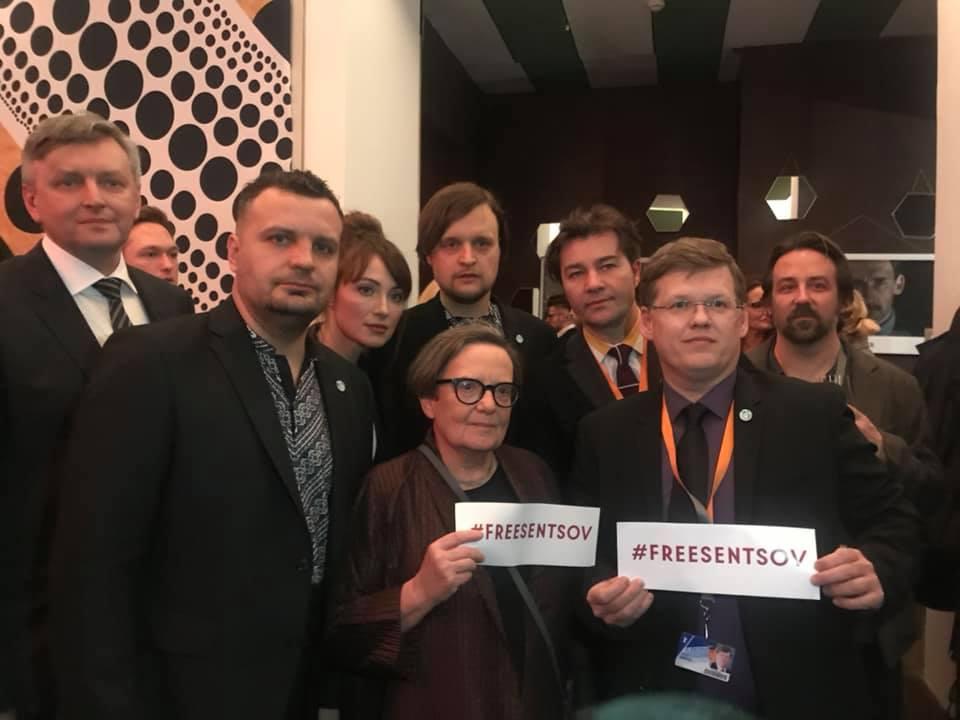 На Берлинском международном кинофестивале прошла акция в поддержку Сенцова