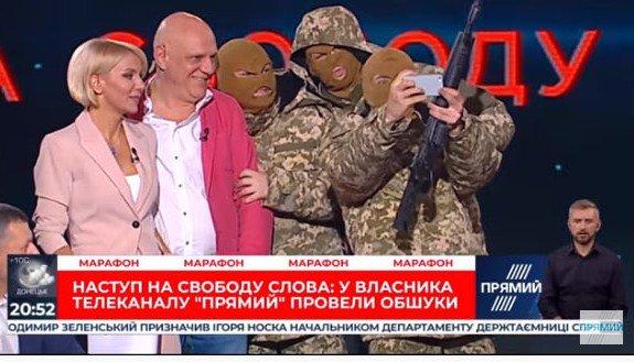 Неизвестные в масках и с автоматами ворвались в студию телеканала (видео)