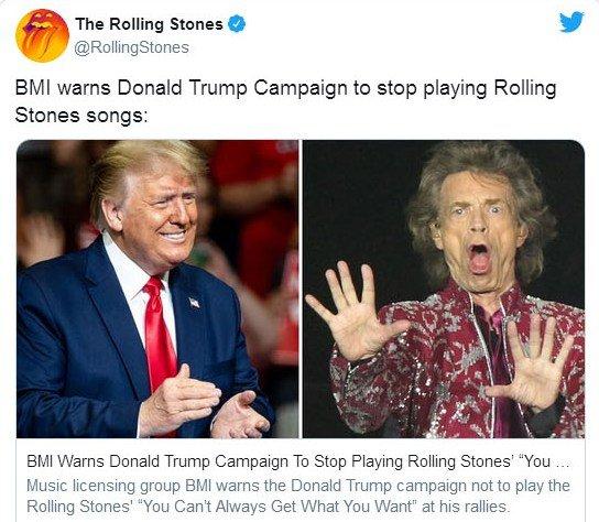The Rolling Stones требует от Трампа прекратить использовать их песни во время предвыборной кампании