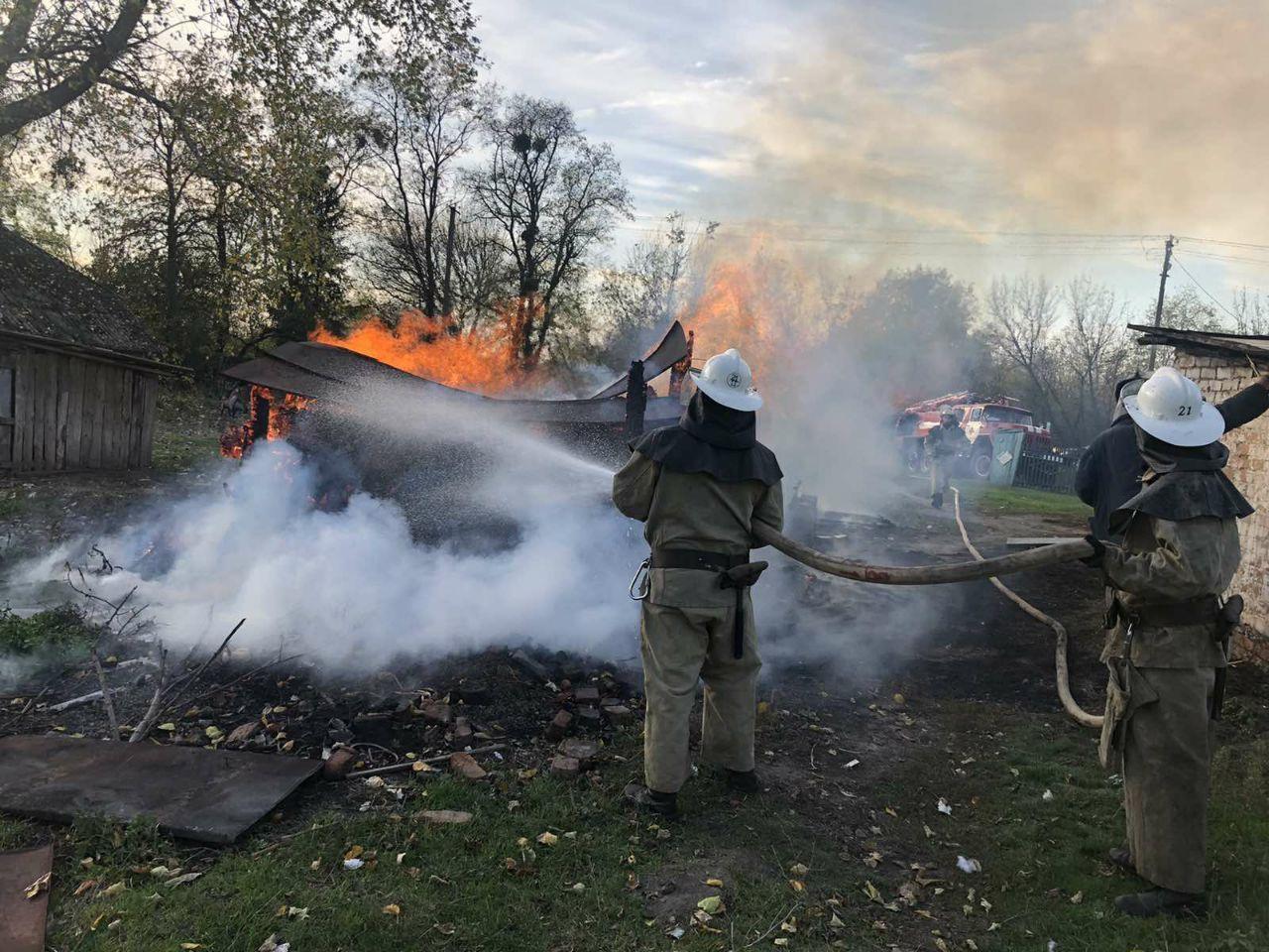 В частном домовладении сгорел сарай с дровами (фото)