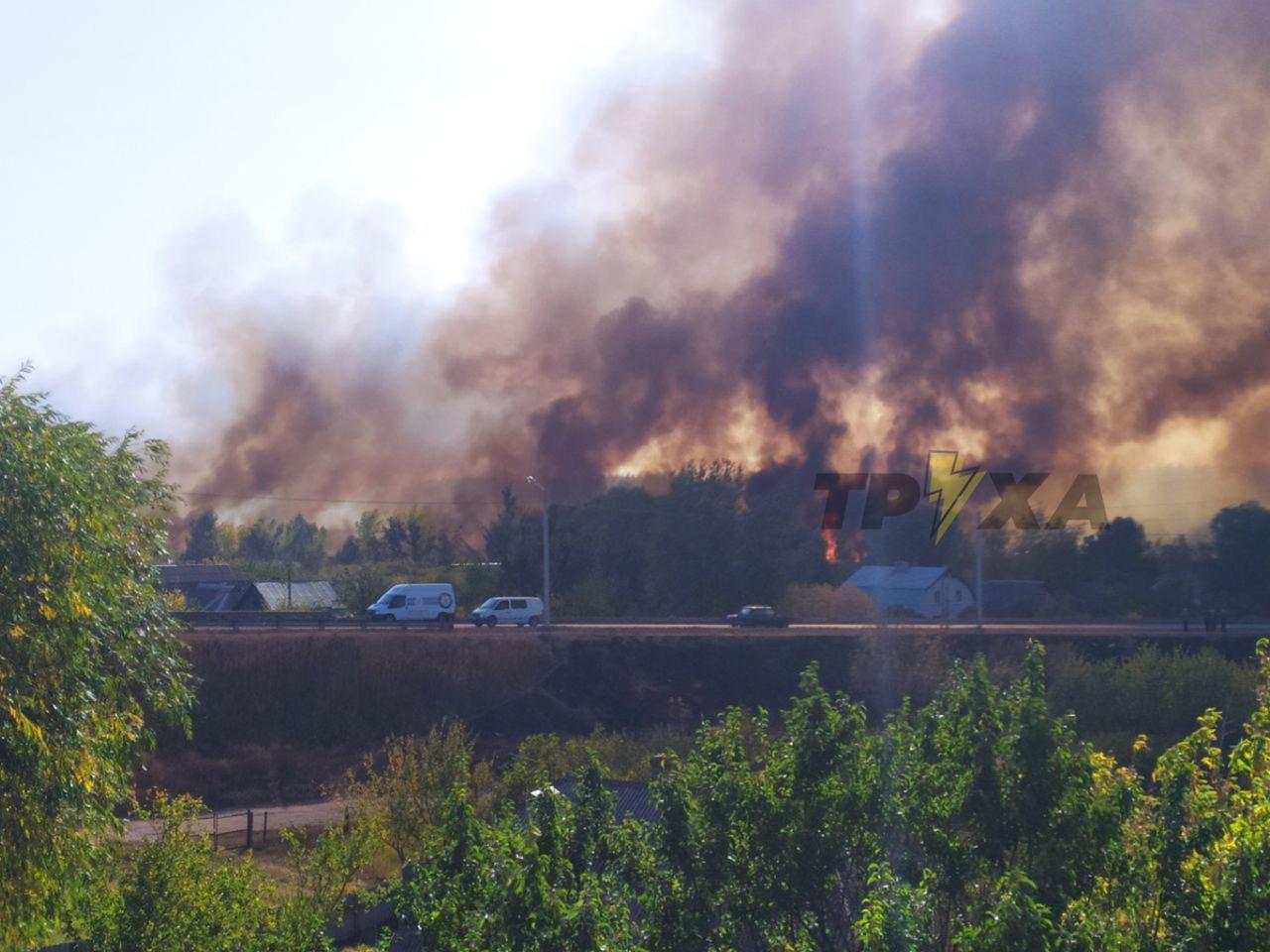 У Харкові палає сухостій: поряд знаходяться житлові будинки