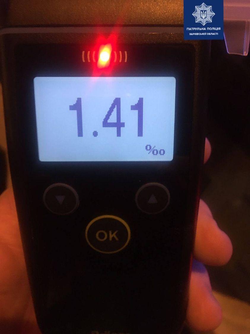 В Харькове остановили водителя с 7-кратным превышением нормы алкоголя в крови