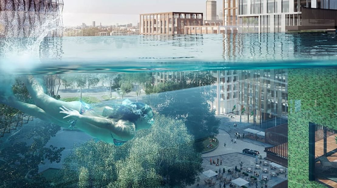 В Лондоне смонтировали бассейн между двумя домами на высоте 35 метров (фото)