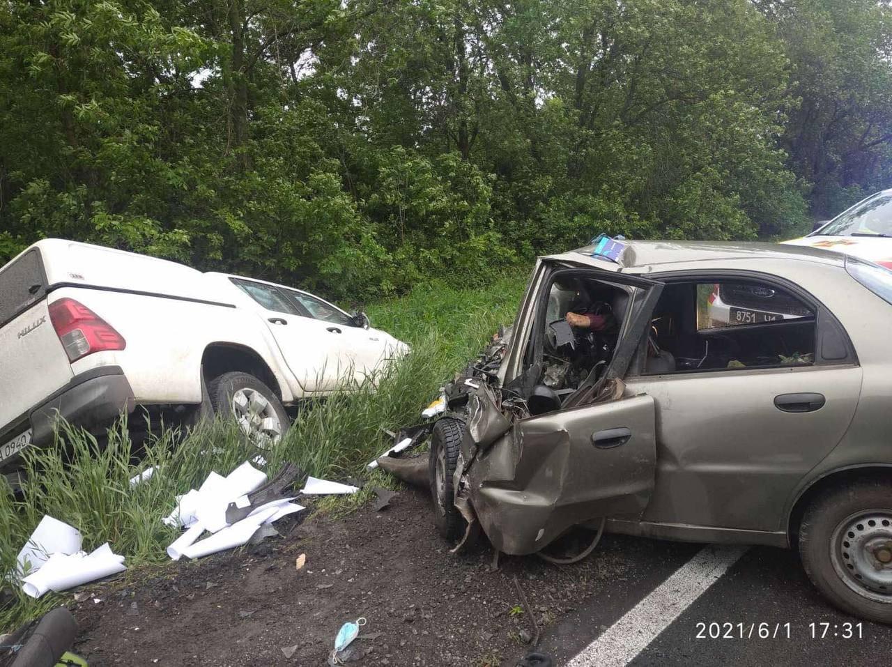 ДТП под Чугуевом: столкнулись Dawoo и Toyota