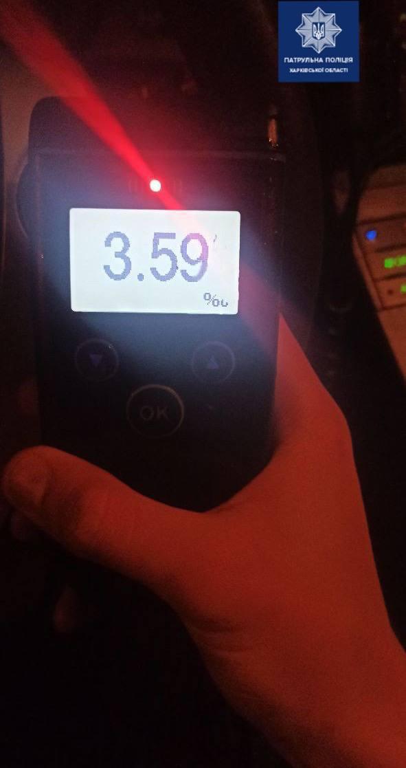 Тест на алкоголь превысил норму в 19 раз: в Харькове задержали пьяного водителя