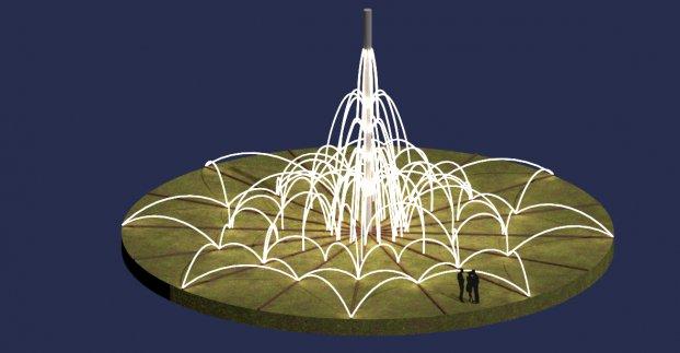 На проспекте Гагарина начали устанавливать световой фонтан