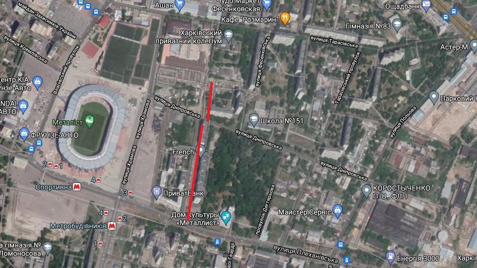 Лебединская улица на современной Гугл-карте Харькова (выделена красным)