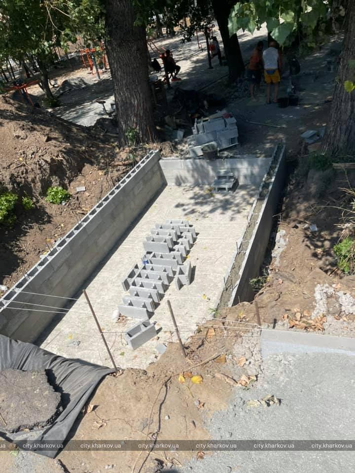 В Харьковском парке Юность идут ремонтные работы