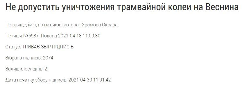 Петиция на сайте Харьковской мэрии о трамвае на Веснина