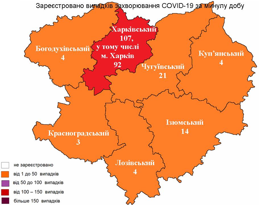 Коронавирус за сутки по районам Харьковщины