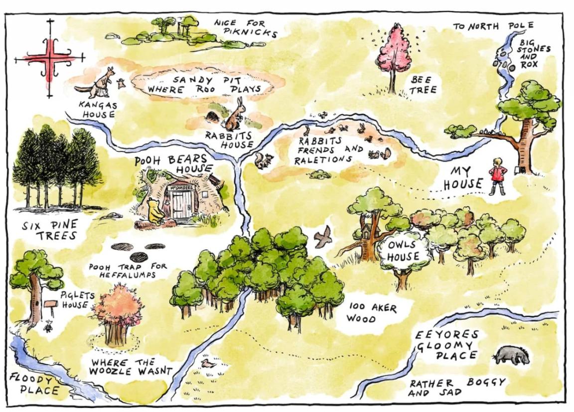 Карта леса, где происходили события с Винни-Пухом