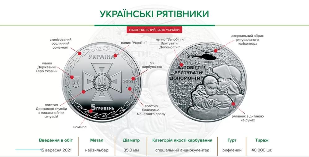 В Нацбанке вводят в обиход памятную монету, посвященную спасателям Украины